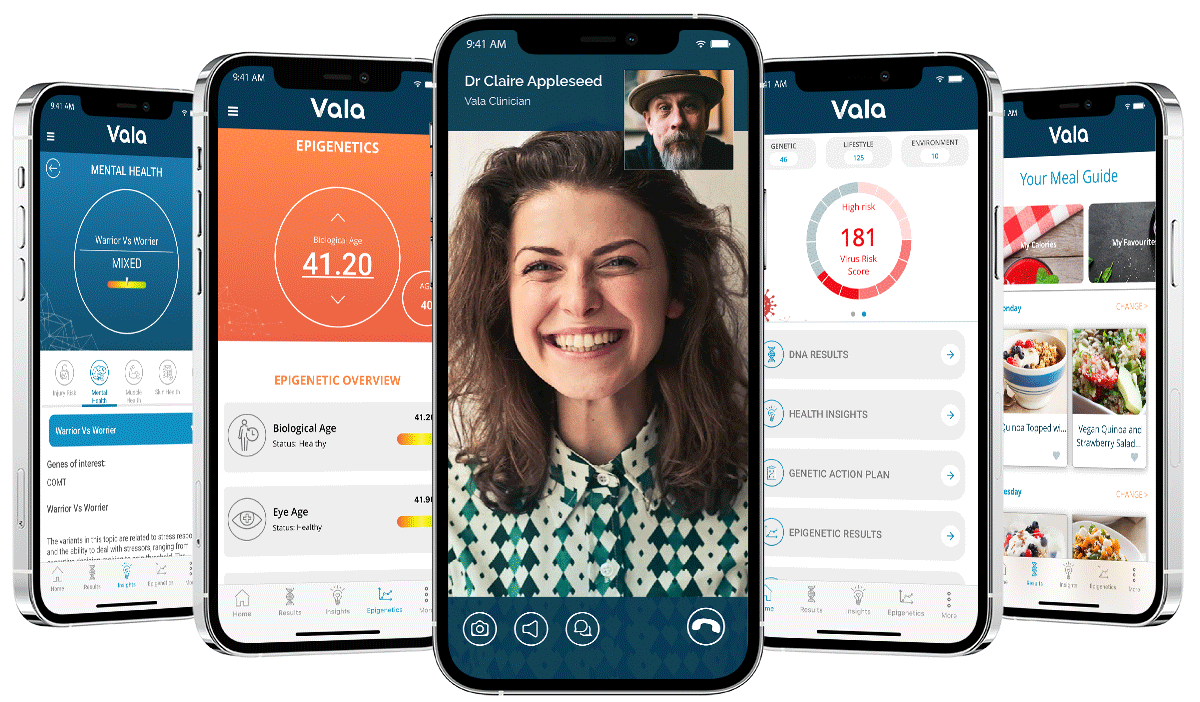 Vala Epigenetics App Screens