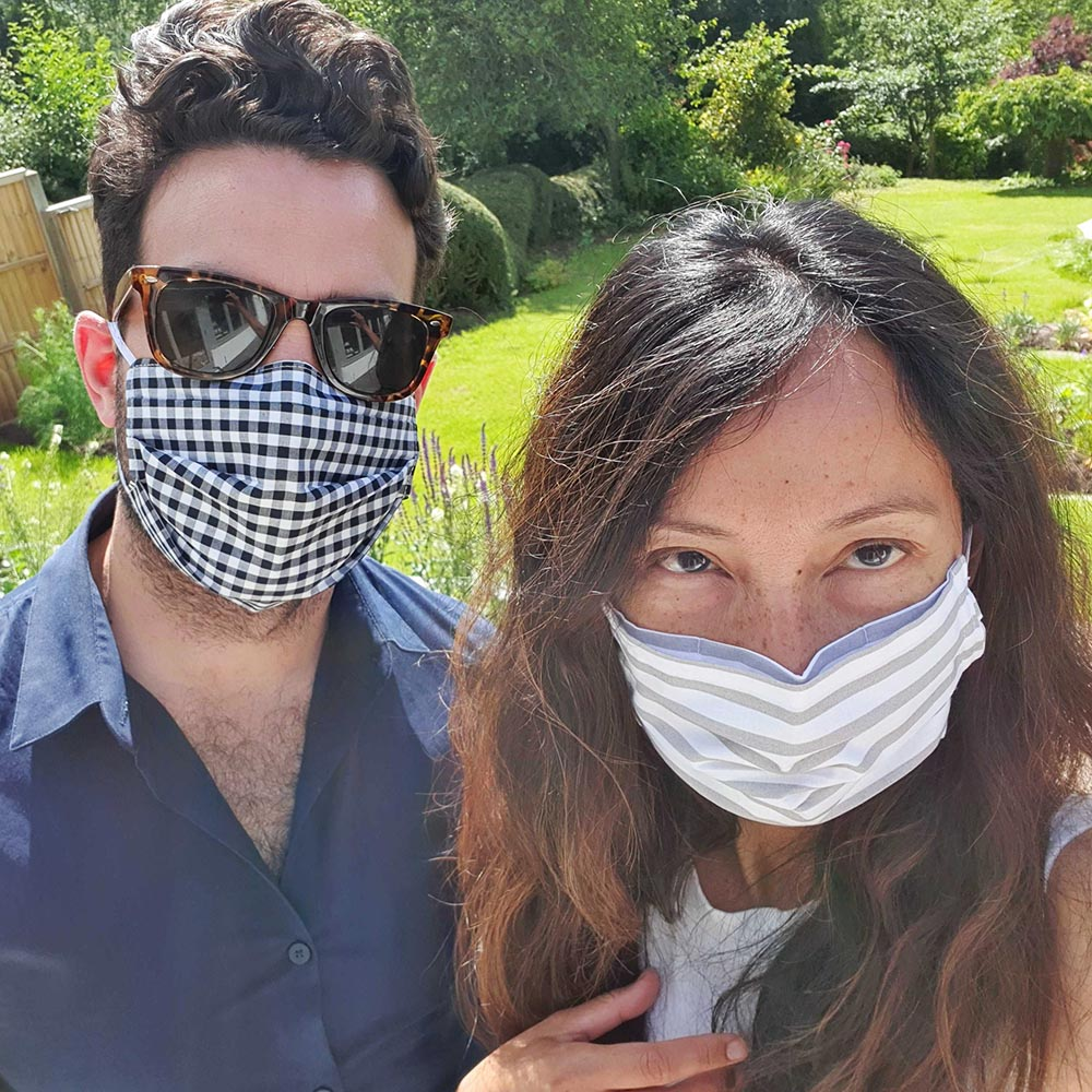 Niall and Shellane wearing their facemasks